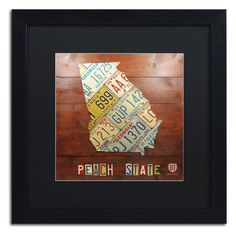 Trademark Fine Art Georgia Map Framed Wall Art - ALI1243-B1616BMF