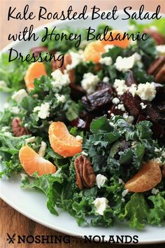 Kale Roasted Beet Salad with Honey Balsamic Dressing #SundaySupper