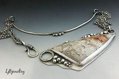 LjBjewelry, Silver Necklace Pendant, Crazy Lace Agate