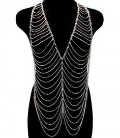 Chain Vest Body Chain Armor Draping Chains Silver Armour Statement Cage Avant Garde