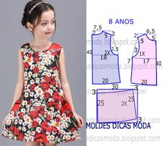 8 years old dress . Kids Dress Patterns, Sewing Patterns For Kids, Clothing Patterns, Girls Dresses Sewing, Little Girl Dresses, Sewing Clothes, Free Clothes, Fashion Kids, Fashion Sewing