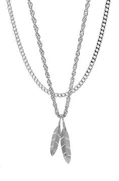 Mister  Feather Necklace - Chrome