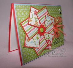Pinwheel Card - a great way to make a handmade card using left over scrappy papers.... looks intricate but not so when you get to work on it.  Definitely going to do this one at the next craft club!