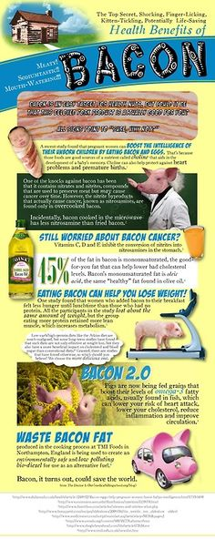 This delicious infographic will expose you to the top secret, shocking, finger-licking, potentially life-saving health benefits of…bacon. Well, that is what this bacon infographic states. Could bacon really be good for you. Easy Healthy Breakfast, Easy Healthy Dinners, Healthy Foods, Diet Foods, Bacon Day, Bacon Bacon, Bacon Food, Paleo Bacon, Bacon Bits