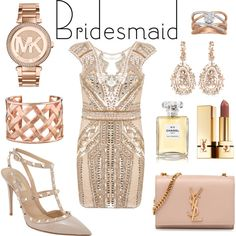 bridesmaid dress that you can wear again by hannderella on Polyvore featuring Miss Selfridge, Valentino, Yves Saint Laurent, Michael Kors, Kenneth Jay Lane, Suzanne Kalan, Chanel, BridesMaid, YSL and michaelkors