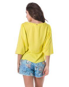 Blusa Estilo Bata com Manga Ampla e Bordado Frontal Amarelo - Lez a Lez