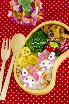 Wonderfully cute Hello Kitty Bento lunch box. #bento #Japanese #Japan #lunch #cute #food #kawaii #Hello_Kitty