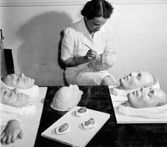 Agnes Roberge making casts for plastic surgery patients at Christie Street Hospital Toronto, Ontario, 1944 Photographer: Ronny Jacques