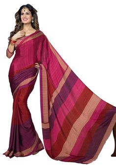 Fuchsia and Magenta Faux Crepe Saree with Blouse
