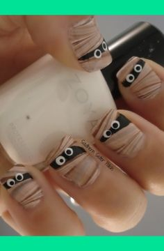 Mummy Nails for Halloween!