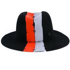 Maison Michel Deconstructed Henrietta Felt Hat (70.840 RUB) via Polyvore featuring accessories, hats, couture hats, maison michel hats, grey hat, gray hat и stitch hat