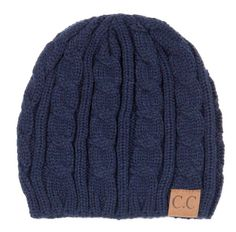 C.C. Beanie Cable Knit Fitted Beanie in Navy YJ31A-NAVY