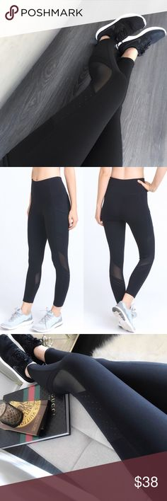 "Mesh ➕ Dot High Waist Workout Leggings This fabric is SO good girls! It's not thick & not see through. These workout leggings feature a high waist w/ mesh + dot accents. Sweat wicking + ultra flattering. Side pockets fit a phone! These will be your go to pair all Fall long. 88% Poly 12% Elastane. Boutique prices firm. Bundle 3+ for 10% off at checkout. Thank you!  Approx.  by size: S: 12.25"" flat waist. •LAST 1• M: 13.25"" flat waist. L: 14.25"" flat waist. Rise: 10"" & Inseam: 23"" from S…"