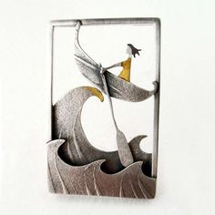 Crest of a Wave   Contemporary Brooches by contemporary jewellery designer Becky Crow