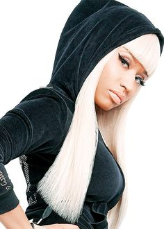 Now who can beat this look..neo-nun gangster hoody look, with hair so blond it looks white! Ha!