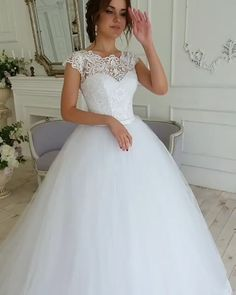 Wedding Dress Bustle, Short Lace Wedding Dress, Pretty Wedding Dresses, Princess Wedding Dresses, Elegant Wedding Dress, Modest Wedding Dresses, Bridal Dresses, Wedding Gowns, Ball Dresses