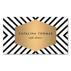 Retro Mod Black and White Pattern with Gold Emblem Business Card Template. This is a fully customizable business card and available on several paper types for your needs. You can upload your own image or use the image as is. Just click this template to get started!