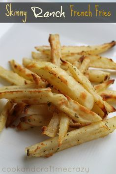 Cook and Craft Me Crazy: Skinny Ranch French Fries~T~ My granddaughter would love these baked fries. Just potatoes, dry ranch seasoning and seasoned salt.