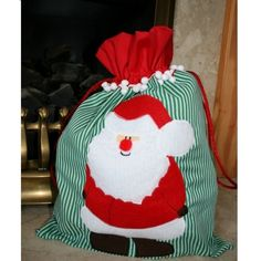 santa sack, love the Santa applique and bauble trim