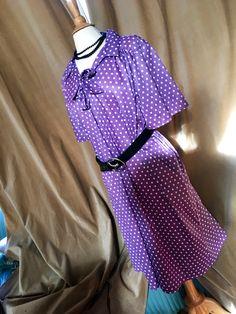 Vintage Purple polka dot pussy bow dress