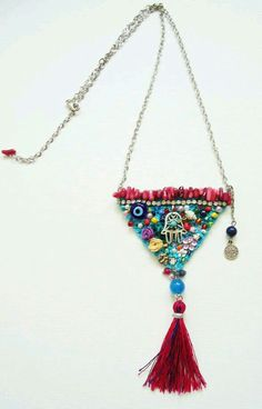 """Love the """"quilt"""" idea of this necklace design (even if I dont like the hamsa specifically)"""