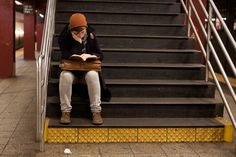 Reading on the stairs