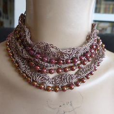 HANDMADE NECKLACE CROCHET ART AND BEADS BROWNS  NO STONE NO METAL SPECIAL GIFT