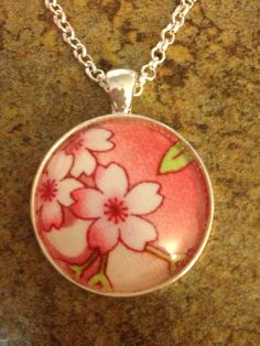 Japanese fabric necklace with round glass dome on Etsy, $15.00