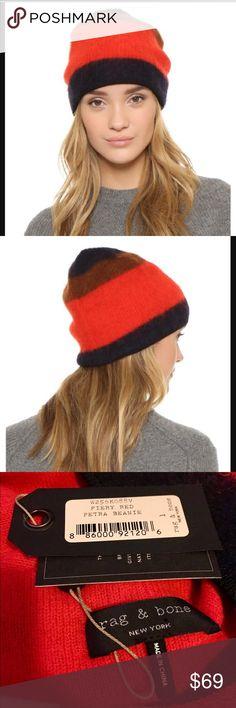 Rag & bone beanie new with tags Rag & bone fiery red Petra beanie new with tags retail $129 rag & bone Accessories Hats