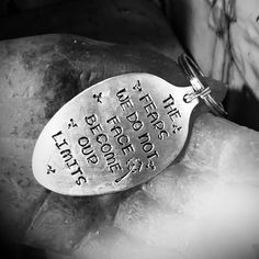 Custom order- stamped silver spoon pendant key chain. #JuliesJunktique #Etsy