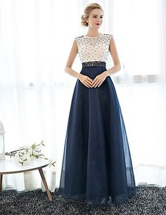 Sheath / Column Illusion Neckline Floor Length Tulle Over Lace Prom / Formal Evening Dress with Pearl Detailing by LAN TING Express