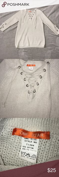 Tan Lace-Up Sweater Brand new, worn once. One size but fits like a small/medium. Could fit a large if wanted extra fitted. Best offer! Sweaters