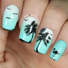 Summer Pedicure Designs Toenails Palm Trees 63 Ideas For 2019 Beach Nail Designs, Colorful Nail Designs, Nail Art Designs, Nails Design, Colorful Nails, Salon Design, Bright Nails, Palm Tree Nails, Sunflower Nails