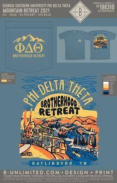 Phi Delta Theta Mountain Retreat Shirt | Fraternity Event | Greek Event #phideltatheta #phidelt Phi Delta Theta, Georgia Southern University, Fraternity, Greek, Mountain, Shirt, Dress Shirt, Shirts, Greece