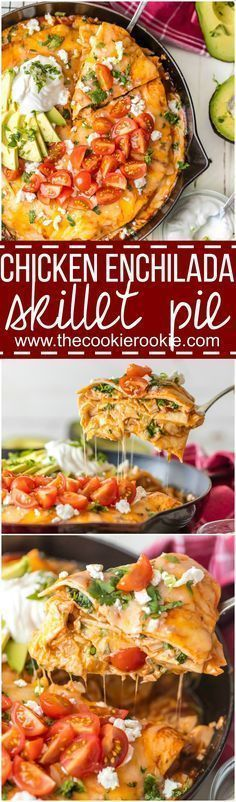 EASY DINNER ALERT! Chicken Enchilada Skillet Pie is made in my 25 minutes and will satisfy the entire family. Flour tortillas layered with spicy chicken, enchilada sauce, and lots of cheese. Easy and delicious dinner perfect for busy nights.