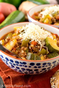 This Italian Zucchini Stew is loaded with fresh garden-grown zucchini, tomatoes, ground beef, potatoes and green bell pepper. Don't forget the Parmesan cheese on top!