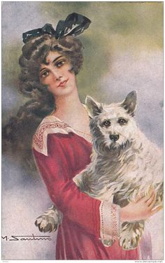 AS: M. Santino, Art Deco; Woman Portrait With Dog, PU-1922 Item number: 131725994