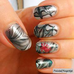 Water Marble Wednesday: Spiderwebs | Painted Fingertips
