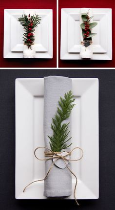 15 Inspirational Ideas For Creating A Modern Christmas Table Full Of Natural Elements // Natural greenery and berries on each napkin creates a more interesting table setting and is simple enough to make, even if you have lots of place settings to fill. Silver Christmas Decorations, Christmas Table Settings, Holiday Decor, Christmas Tree Napkin Fold, Christmas Napkins, Modern Christmas, Rustic Christmas, Christmas Diy, Deco Table Noel