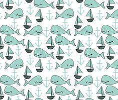 Nautical - Pale Turquoise/White by Andrea Lauren fabric by andrea_lauren on Spoonflower - custom fabric