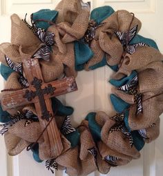 Burlap Wreath with Cross - Burlap, Turquoise, Brown and Animal Print on Etsy, $65.00