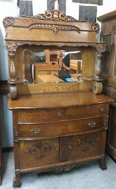 Antique Quartersawn Oak Carved Griffins Beveled Mirror Sideboard Cabinet Dresser | eBay