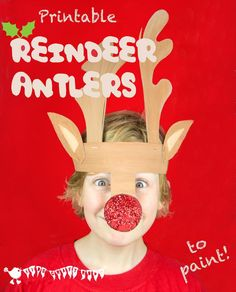 PRINTABLE REINDEER ANTLERS TEMPLATE  An adorable dressing up Christmas craft for kids to cut out, paint and wear.