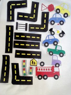 Cars and road felt play set for felt shapes for flannel boards or felt boards . The felt board is not included with this set. Play Felt car set has everything needed for your child to play and pretend