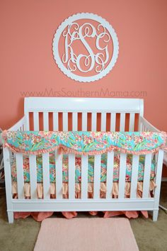 Coral and Turquoise Baby Girl Nursery www.MrsSouthernMama.com #nursery #babygirl #cadenlane