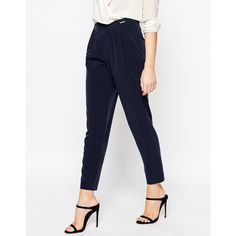 Ted Baker V Shape High Waisted Pant (200 CAD) ❤ liked on Polyvore featuring pants, navy, high waisted pants, white trousers, white high waisted pants, tall pants and navy pants
