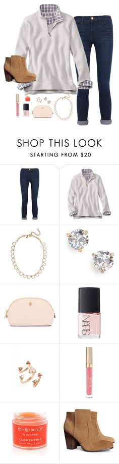 """Read d!!!!!"" by graciegerhart7 ❤ liked on Polyvore featuring Frame Denim, J.Crew, Kate Spade, Tory Burch, NARS Cosmetics, Kendra Scott, Stila, Sara Happ, H&M and women's clothing"