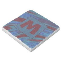 Square Stone Coasters Monogram Blue Red Modern Abstract #zazzle #decor #gifts