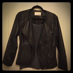 Black jacket It's your LBJ (little black jacket)!  Looks like leather, but is lightweight and super soft.  Wear this anywhere!  Like new, size Large. Bar III Jackets & Coats