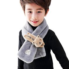 Kids Scarf Neck Warmer Fashion Solid Color Toddler Soft Warm Scarves Muffler Thick Shawl with Cute Bear